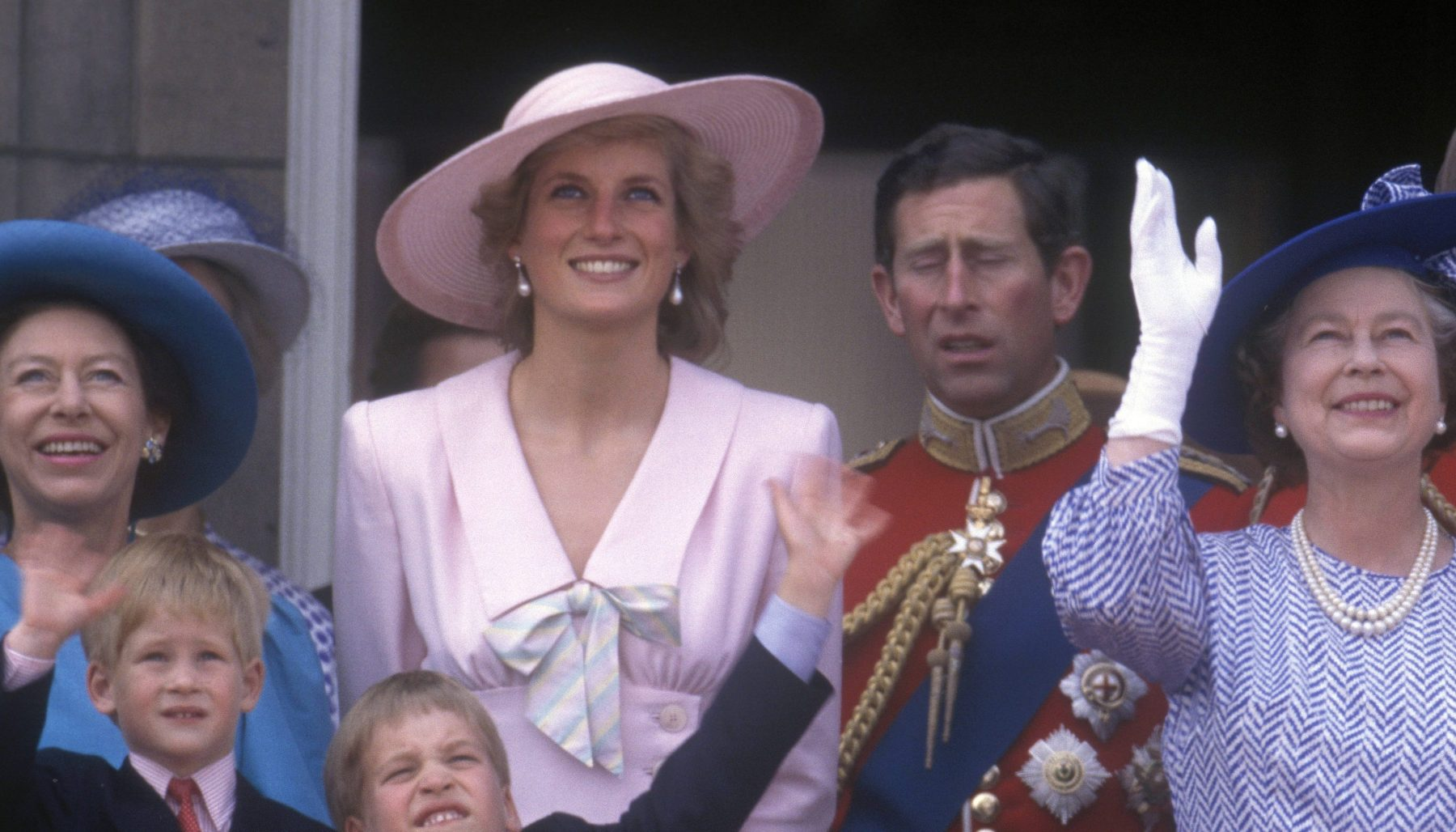 [Original caption] Diana, Princess of Wales, Prince William, Prince Harry, Queen Elizabeth II, Princess Margaret, Prince Charles, Prince of Wales, Trooping the Colour, 17th June 1989. (John Shelley Collection/Avalon/Getty Images)