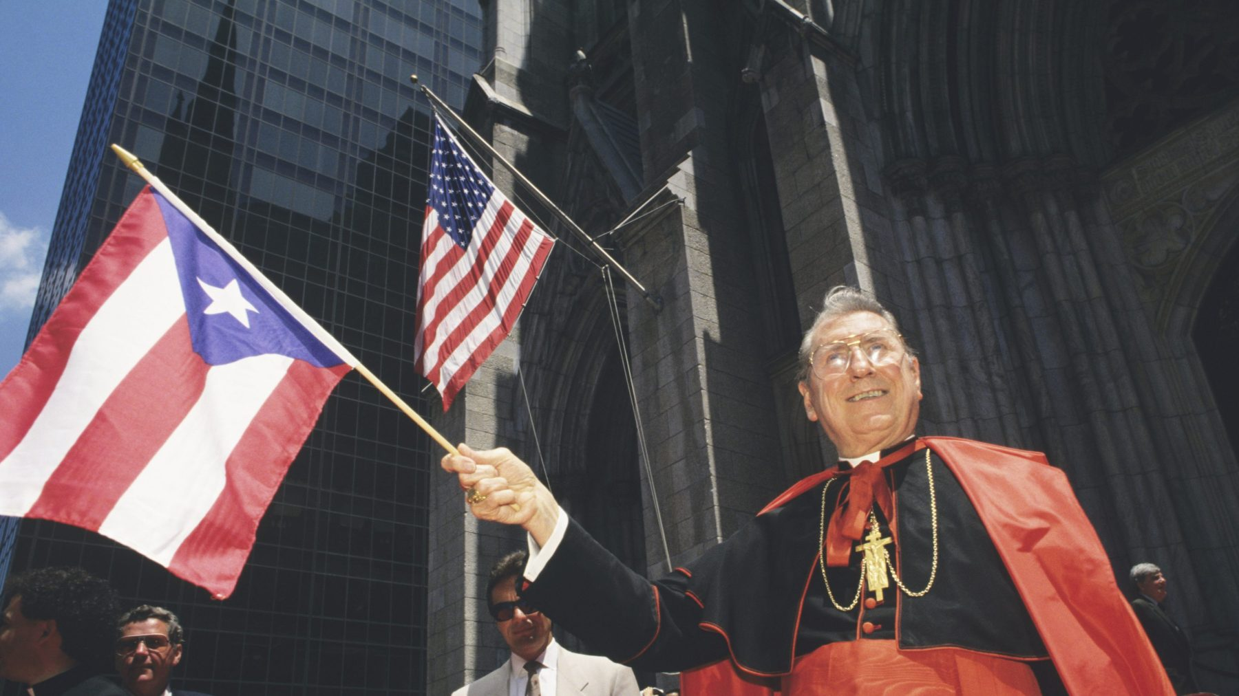 Cardinal John O'Connor in front of Saint Patrick's Cathedral during the Puerto Rican Day Parade. (Mark Peterson/Corbis via Getty Images)