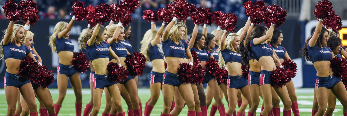 HOUSTON, TX - OCTOBER 25: Houston Texans cheerleaders perform before the football game between the Miami Dolphins and Houston Texans on October 25, 2018 at NRG Stadium in Houston, Texas. The Texans defeated Miami 42-23. (Photo by Daniel Dunn/Icon Sportswire via Getty Images)