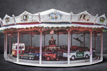 A car carousel manufactured by Wilhelm Hennecke of Germany in 1957. (Barrett-Jackson)