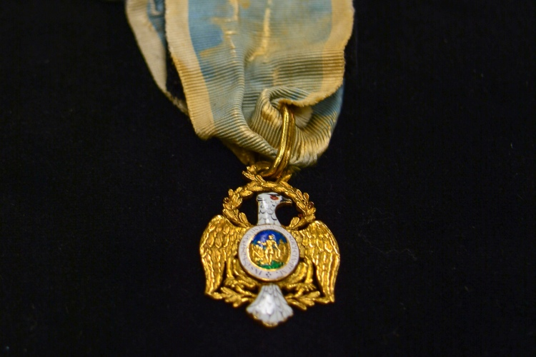 "A Society of the Cincinnati medal with eagle insignia. The Society of the Cincinnati was formed after the Revolutionary War. The medal is part of the ""Year of Hamilton"" exhibit at the Museum of the American Revolution. Credit: MoAR"