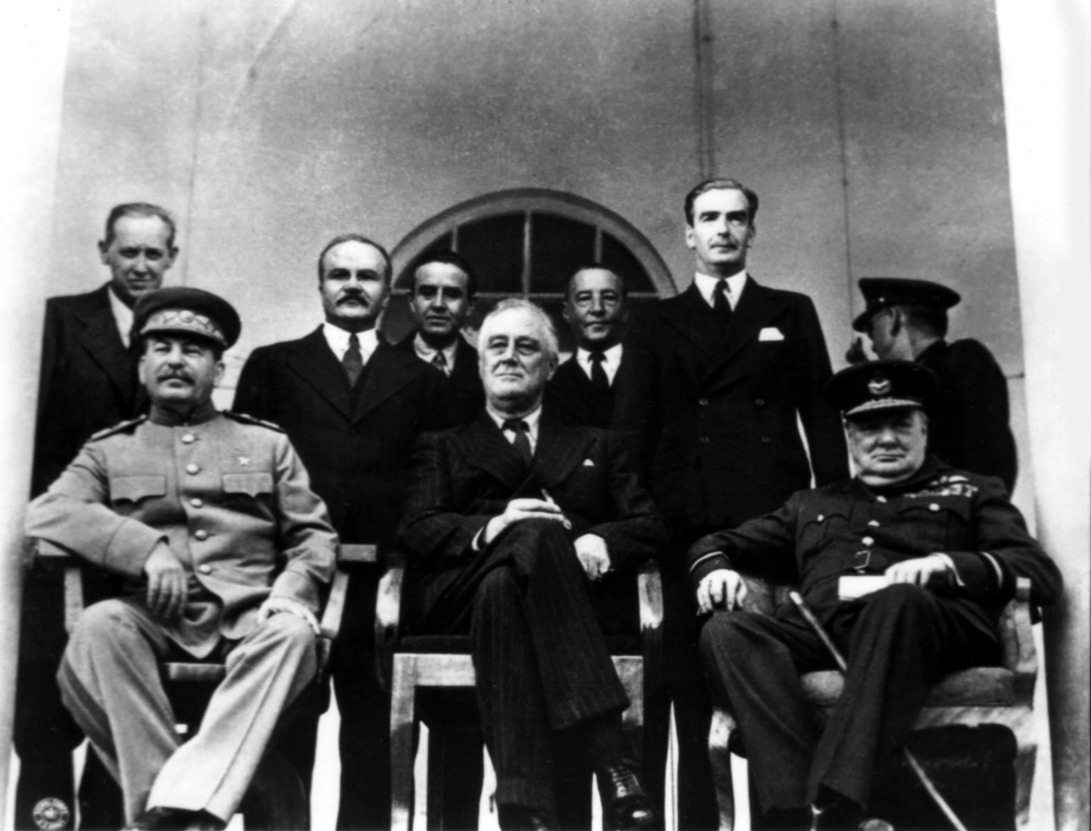 [Original caption] Teheran conference. From the l. to the r.: Joseph Stalin, Franklin D. Roosevelt and Winston Churchill, 1943, Iran - World War II. (Photo by: Photo12/UIG via Getty Images)