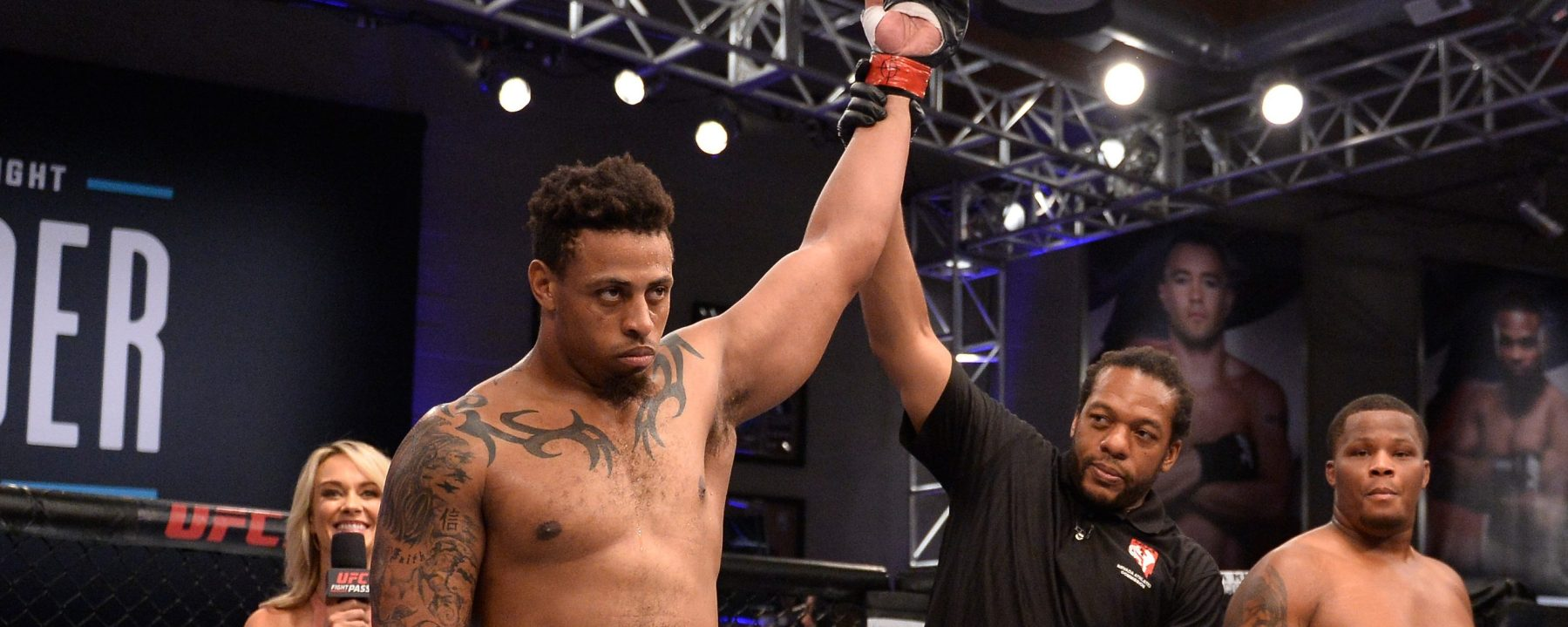 Greg Hardy celebrates after his TKO victory over Tebaris Gordon in their heavyweight fight during Dana White's Tuesday Night Contender Series at the TUF Gym on August 7, 2018 in Las Vegas, Nevada. (Photo by Chris Unger/DWTNCS LLC)
