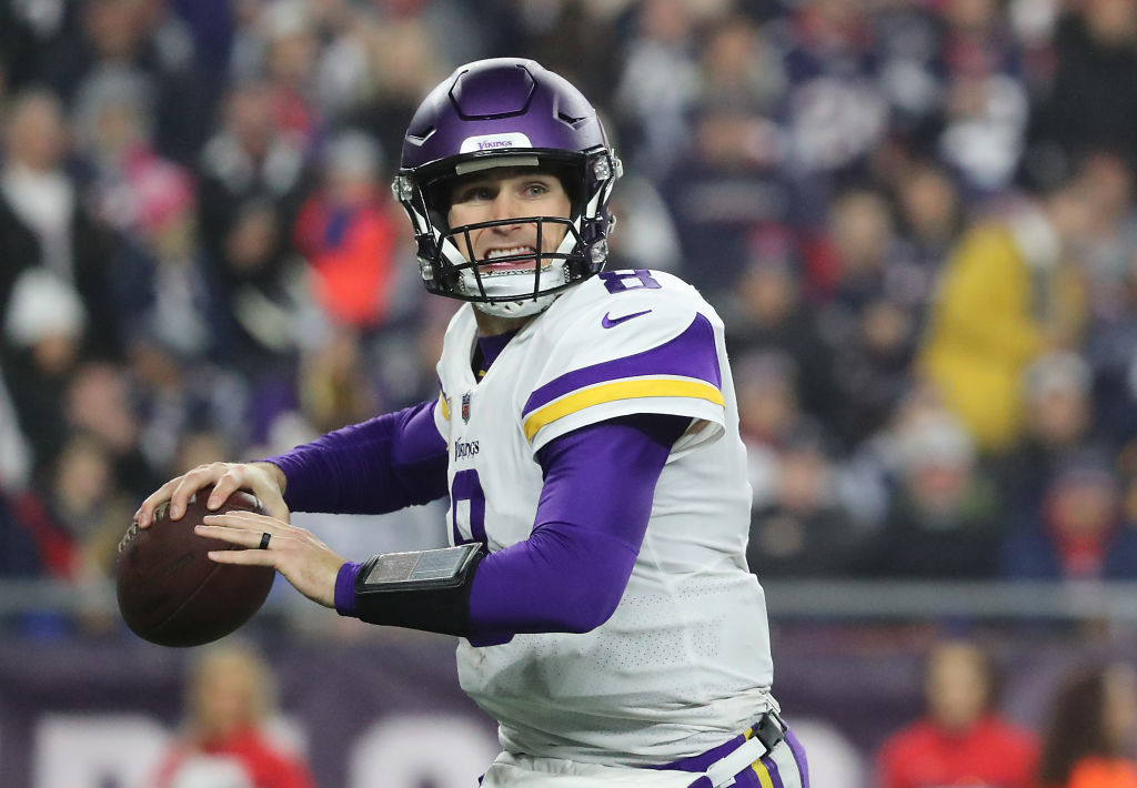 FOXBOROUGH, MA - DECEMBER 2: Minnesota Vikings quarterback Kirk Cousins against the New England Patriots during third quarter action at Gillette Stadium in Foxborough on Dec. 02, 2018. (Photo by Matthew J. Lee/The Boston Globe via Getty Images)