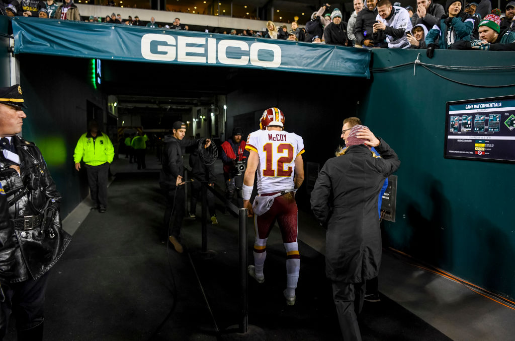PHILADELPHIA, PA - DECEMBER 3: Washington Redskins quarterback Colt McCoy (12) walks off the field with an apparent injury in the second quarter in a game against the Philadelphia Eagles at Lincoln Financial Field.  (Photo by Jonathan Newton / The Washington Post via Getty Images)