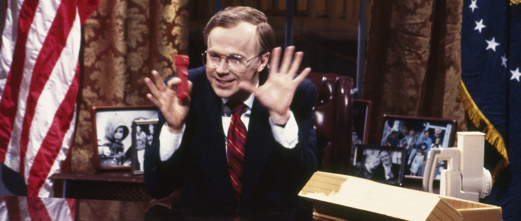 Dana Carvey as George Bush on SATURDAY NIGHT LIVE  (Photo by Alan Singer/NBC/NBCU Photo Bank via Getty Images)
