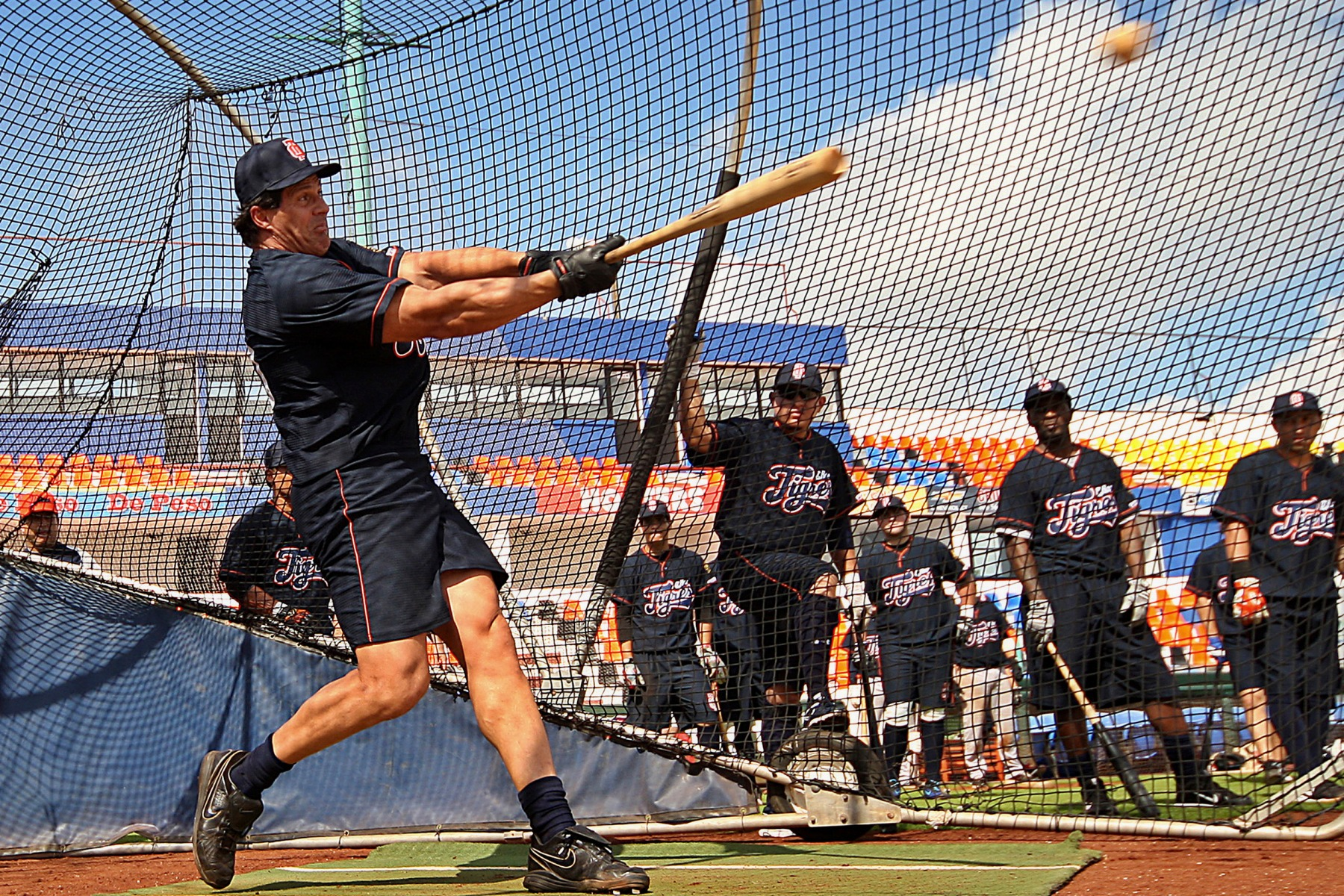 CANCUN, MEXICO , FEBRUARY 15: Jose Canseco of Tigres of Quintana Roo during a training session before the start of the 2012 season of the Mexican Baseball League at Beto Avila stadium, on February 14, 2012 in Cancun, Mexico. (Photo by: Fernando Nunez/Jam Media/LatinContent/Getty Images)