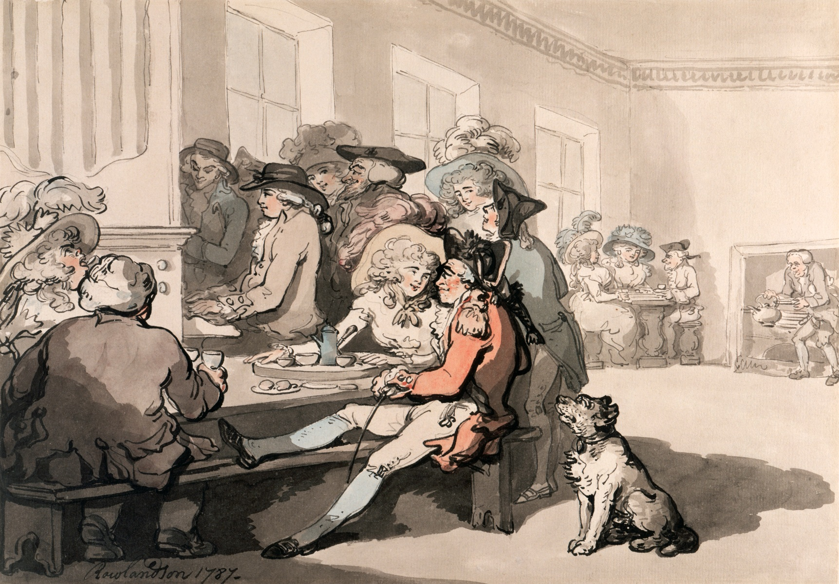 'The Chocolate House', 1787. People taking tea, coffee, and chocolate at the White Conduit House, Islington, London. A woman and a soldier flirt over a cup of chocolate in one of London's fashionable establishments. A dog waits anxiously as his master relaxes. An organist entertains the customers. (Photo by Museum of London/Heritage Images/Getty Images)