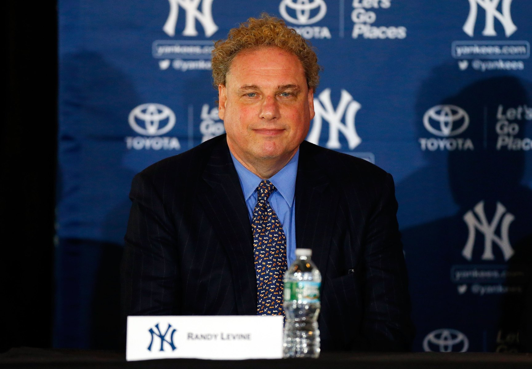 President Randy Levine of the New York Yankees looks on during a news conference introducing Masahiro Tanaka (not pictured) to the media on February 11, 2014 at Yankee Stadium in the Bronx borough of New York City.  (Photo by Jim McIsaac/Getty Images)