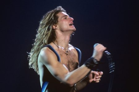 Lead singer and guitarist David Lee Roth of the rock group Van Halen performing on May 12, 1979 in New York City. (Photo by Waring Abbott/Getty Images)