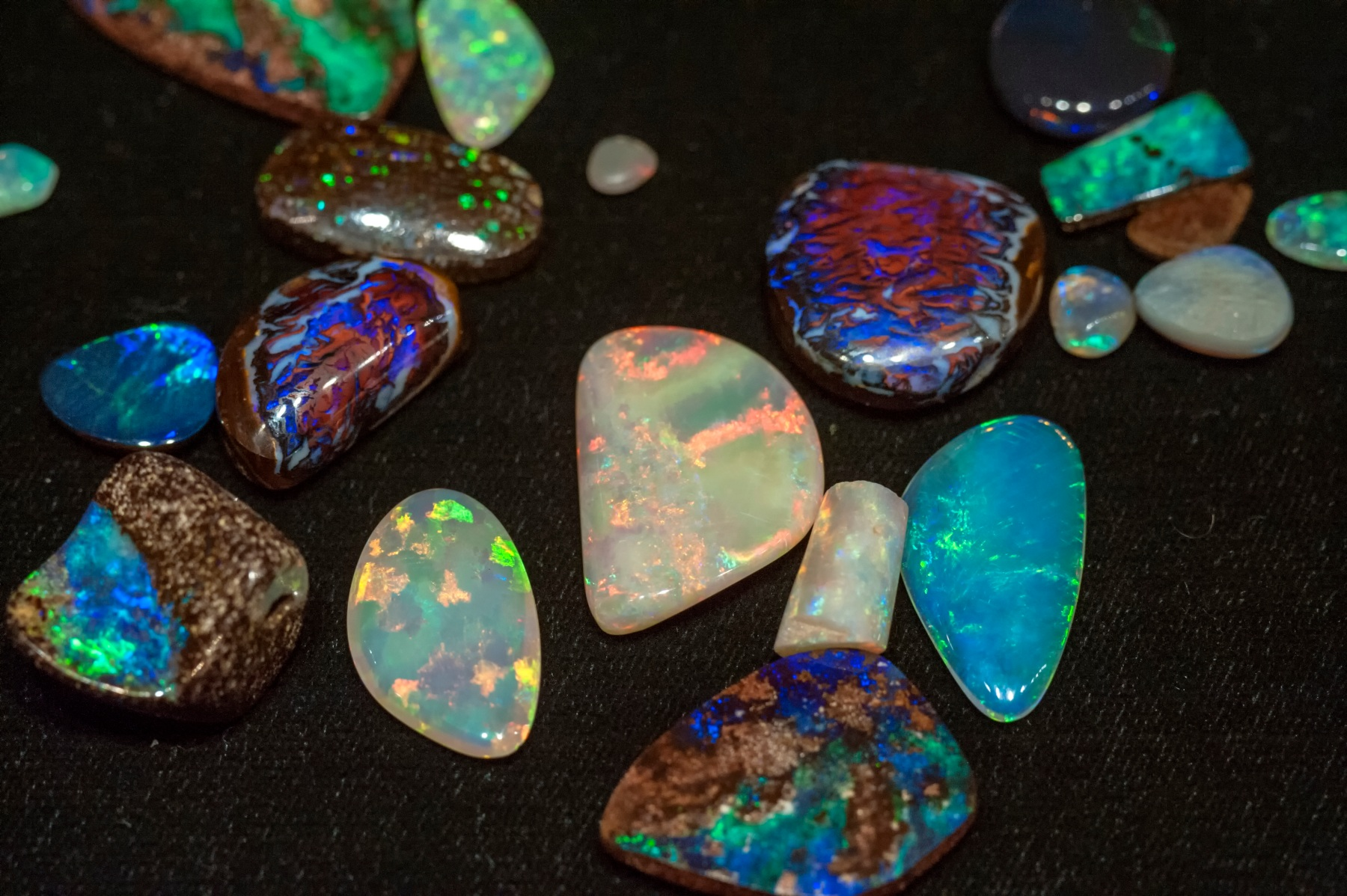 Cut opals from Coober Pedy and Andamooka in South Australia, and Lightning Ridge in New South Wales, Australia (Getty Images)