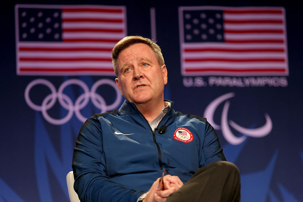 BEVERLY HILLS, CA - MARCH 07:  USOC CEO Scott Blackmun addresses the media at the USOC Olympic Media Summit at The Beverly Hilton Hotel on March 7, 2016 in Beverly Hills, California.  (Photo by Maxx Wolfson/Getty Images for the USOC)