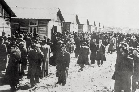 (Original Caption) Jews seized in occupied Paris are shown on their arrival at the Pithiviers concentration camp, where they joined their fellow sufferers.
