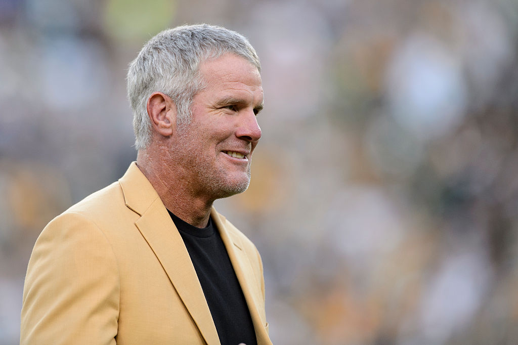 Former NFL quarterback Brett Farve looks on as he is inducted into the Ring of Honor during a halftime ceremony during the game between the Green Bay Packers and the Dallas Cowboys on October 16, 2016 at Lambeau Field in Green Bay, Wisconsin. (Photo by Hannah Foslien/Getty Images)