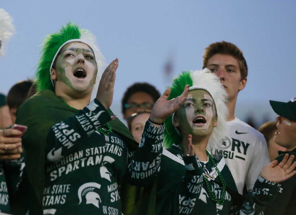 EAST LANSING, MI - SEPTEMBER 30:  Michigan State Spartans fans during the second half of a game against the Iowa Hawkeyes at Spartan Stadium on September 30, 2017 in East Lansing, Michigan. (Photo by Duane Burleson/Getty Images)