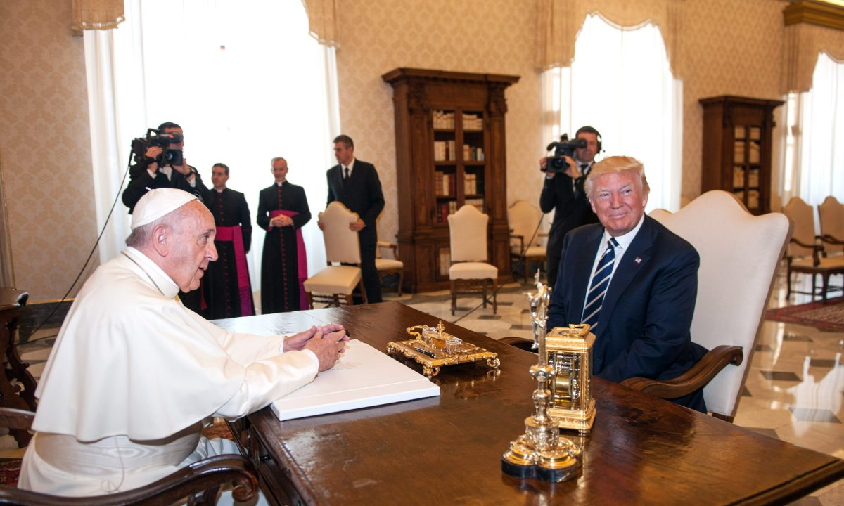 Pope Francis meets U.S. President Donald Trump on May 24, 2017 in Vatican City, Vatican. (Getty Images)