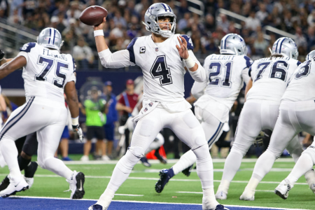 ARLINGTON, TX - NOVEMBER 29: Dallas Cowboys Quarterback Dak Prescott (4) drops back to pass during the game between the Dallas Cowboys and New Orleans Saints on November 29, 2018 at AT&T Stadium in Arlington, TX. (Photo by Andrew Dieb/Icon Sportswire via Getty Images)