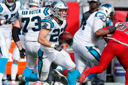 TAMPA, FL - DEC 02:  Christian McCaffrey (22) of the Panthers carries the ball during the regular season game between the Carolina Panthers and the Tampa Bay Buccaneers on December 02, 2018 at Raymond James Stadium in Tampa, Florida. (Photo by Cliff Welch/Icon Sportswire via Getty Images)