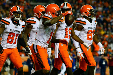 DENVER, CO - DECEMBER 15: Wide receiver Antonio Callaway #11 of the Cleveland Browns is congratulated after scoring a fourth quarter go-ahead touchdown against the Denver Broncos at Broncos Stadium at Mile High on December 15, 2018 in Denver, Colorado. (Photo by Dustin Bradford/Getty Images)