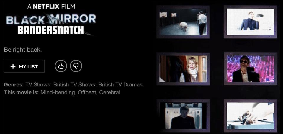 """The title screen for """"Bandersnatch.""""(Screenshot via Netflix)"""
