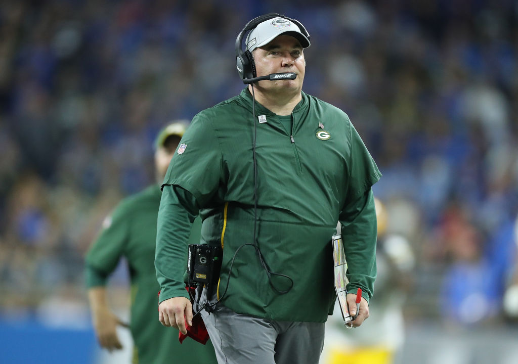 DETROIT, MI - OCTOBER 07: Green Bay Packers head football coach Mike McCarthy watches the warms ups prior to the start of the game against the Detroit Lions at Ford Field on October 7, 2018 in Detroit, Michigan. The Lions defeated the Packers 31-23. (Photo by Leon Halip/Getty Images) ** Mike McCarthy **