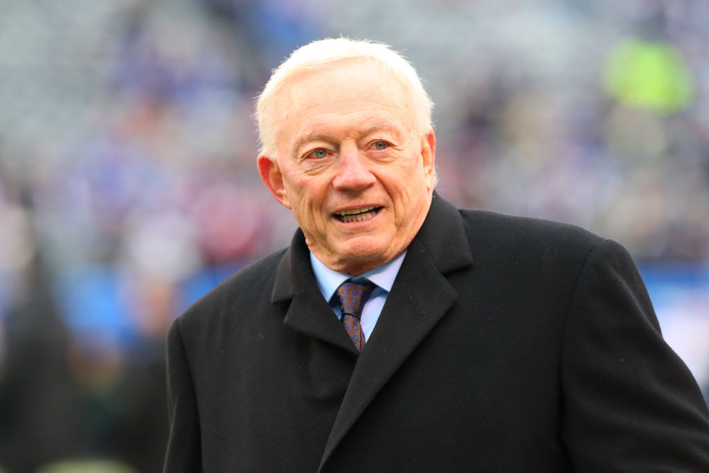 EAST RUTHERFORD, NJ - DECEMBER 30:  Dallas Cowboys Owner Jerry Jones on the field prior to the National Football League game between the New York Giants and the Dallas Cowboys on December 30, 2018 at MetLife Stadium in East Rutherford, NJ.  (Photo by Rich Graessle/Icon Sportswire via Getty Images)