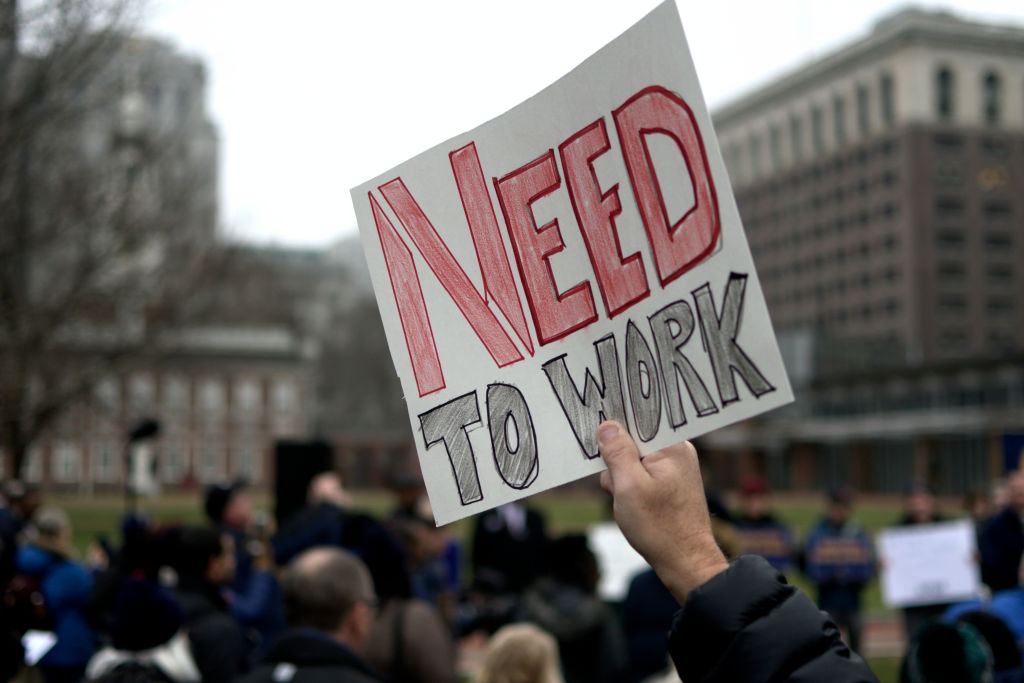 Furloughed federal workers, joined by elected officials, hold up sings to protest the federal government shutdown during a non-partisan rally at Independence Mall, in Philadelphia, PA, on January 8, 2019. If continued in the next days the shutdown will be the longest in the U.S. history and was tricked after the Republicans of President Trump lost control over the U.S House of Representatives after the recent elections. (Photo by Bastiaan Slabbers/NurPhoto via Getty Images)