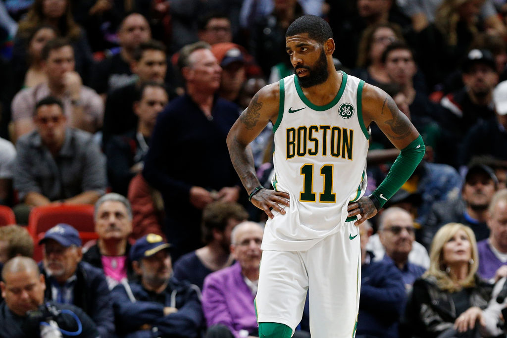 Kyrie Irving #11 of the Boston Celtics reacts against the Miami Heat at American Airlines Arena on January 10, 2019 in Miami, Florida. (Photo by Michael Reaves/Getty Images)