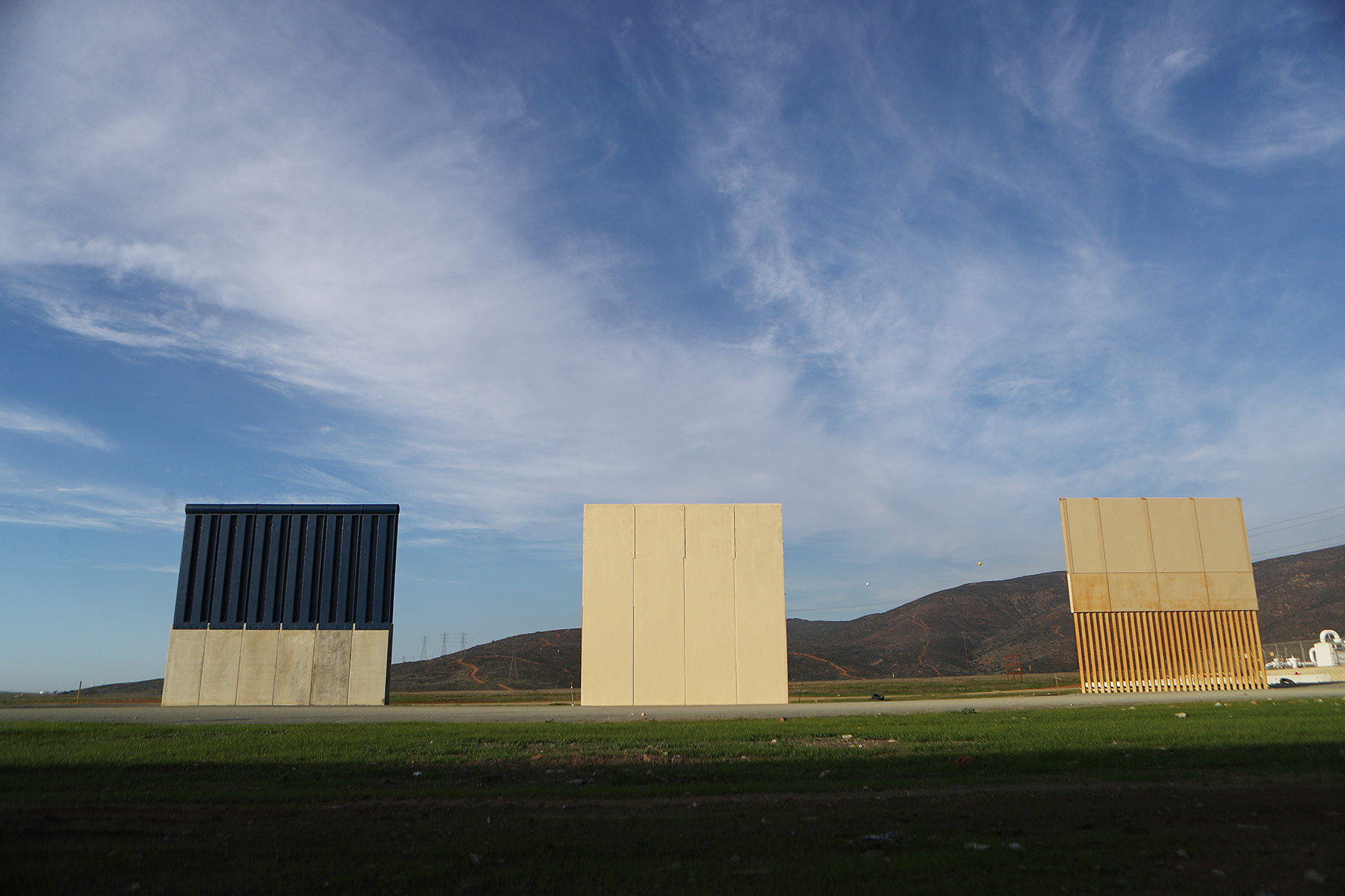 President Trump's border wall prototypes are displayed on the U.S. side of the U.S.-Mexico border on January 9, 2019 as seen from Tijuana, Mexico. President Trump is planning a visit to the southern border in Texas. (Photo by Mario Tama/Getty Images)