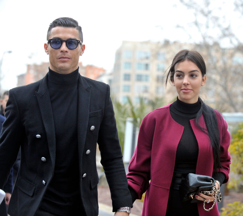 MADRID, SPAIN - JANUARY 22: Cristiano Ronaldo and Georgina Rodriguez arrive at the Audiencia Provincial on January 22, 2019 in Madrid, Spain. Cristiano has been called to declare for tax fraud case. (Photo by Europa Press Entertainment/Europa Press via Getty Images)