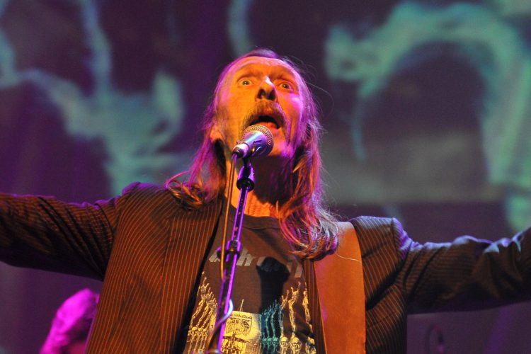 Dave Brock of Hawkwind performs on stage during the Rock 4 Rescue charity concert at Shepherds Bush Empire on February 22, 2014 in London, United Kingdom. (Photo by C Brandon/Redferns via Getty Images)