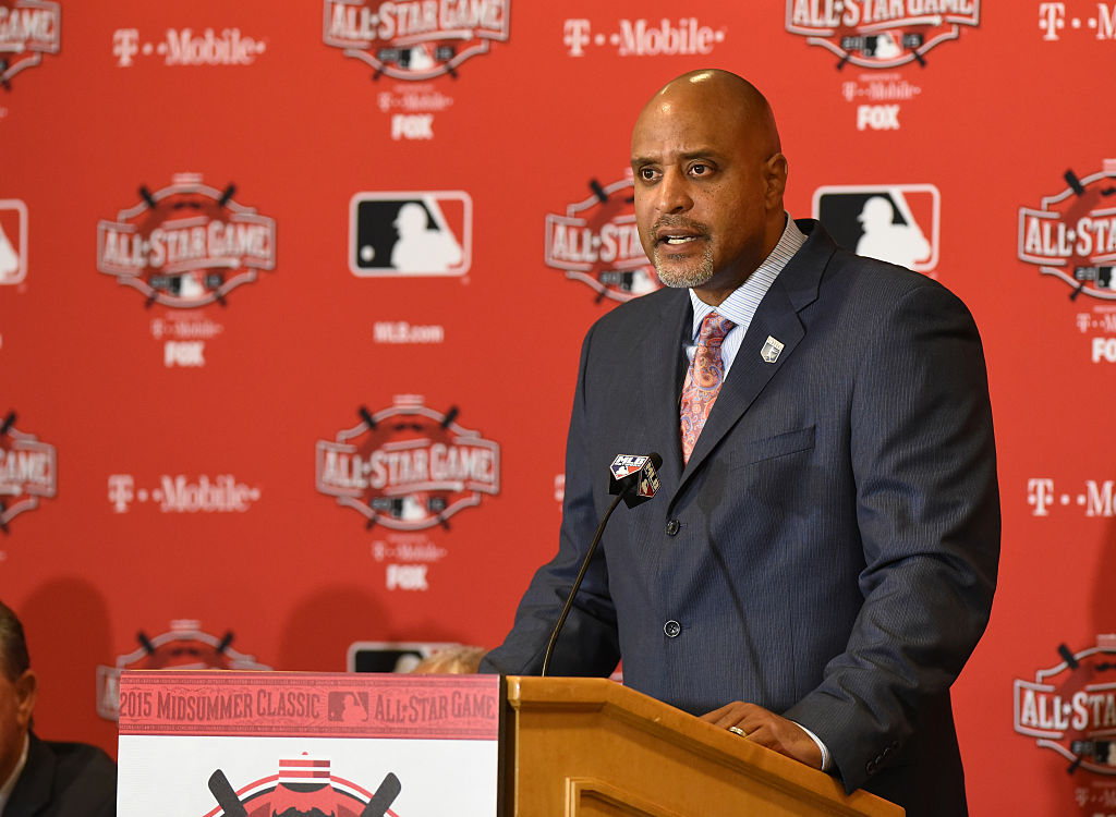 Executive Director of  the Major League Baseball Players Association Tony Clark talks to reporters during the MLB All Star Media Availability Day at the Westin Cincinnati Hotel on July 13, 2015 in Cincinnati, Ohio.  (Photo by Mark Cunningham/MLB Photos via Getty Images)
