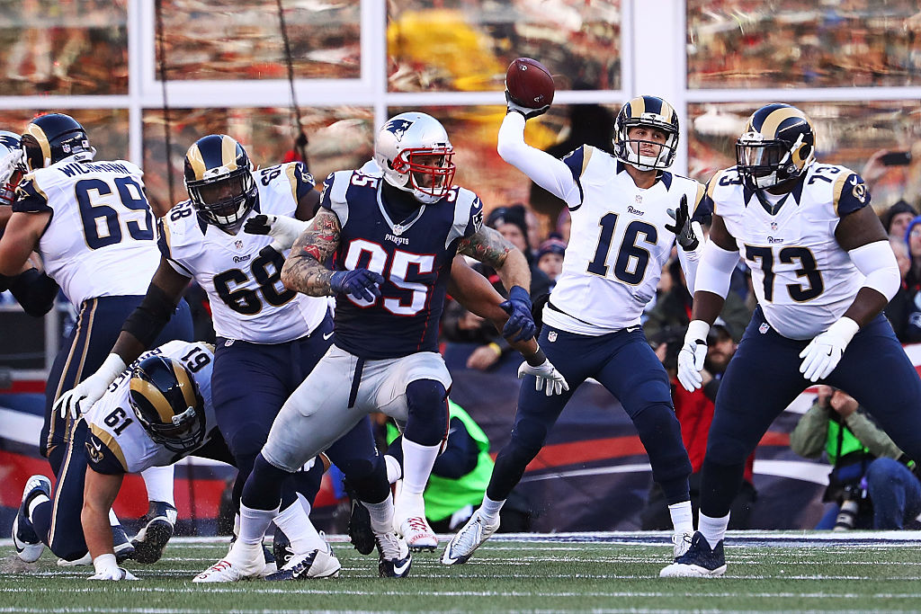 FOXBORO, MA - DECEMBER 04:  Jared Goff #16 of the Los Angeles Rams throws a pass during the first half against the New England Patriots at Gillette Stadium on December 4, 2016 in Foxboro, Massachusetts.  (Photo by Adam Glanzman/Getty Images)