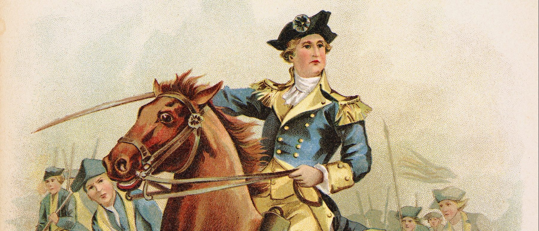 General George Washington leading the attack at the Battle of Monmouth, New Jersey. June 28, 1778.