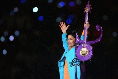 "Prince performs during the ""Pepsi Halftime Show"" at Super Bowl XLI"