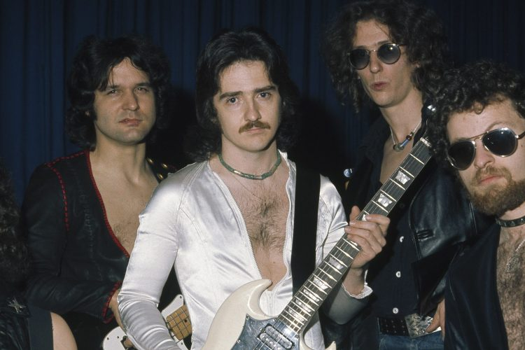 Blue Oyster Cult pose for a group shot, (L-R) Albert Bouchard, Joe Bouchard, Buck Dharma, Allen Lanier, and Eric Bloom on October 27th 1975 in Copenhagen, Denmark. (Photo by Jorgen Angel/Redferns)