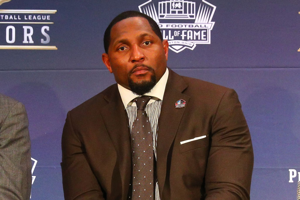 Ray Lewis   selected to the Pro Football Hall of Fame at NFL Honors during Super Bowl LII week on February 3, 2018, at Northrop at the University of Minnesota in Minneapolis, MN.  (Photo by Rich Graessle/Icon Sportswire via Getty Images)
