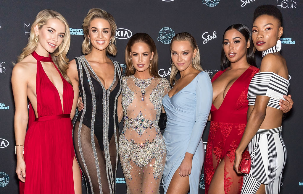 NEW YORK, NY - FEBRUARY 14:  (L-R) Models Olivia Jordan, Allie Ayers, Haley Kalil, Camille Koste, Tabria Majors and Iyonna Fairbanks attend the 2018 Sports Illustrated Swimsuit Issue Launch Celebration at Magic Hour at Moxy Times Square on February 14, 2018 in New York City.  (Photo by Gilbert Carrasquillo/FilmMagic)