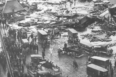 BOSTON - JANUARY 1: A molasses tank collapsed and caused widespread damage in Boston's North End in January 1919. The incident is commonly referred to as the Great Molasses Flood. (Photo by The Boston Globe via Getty Images)