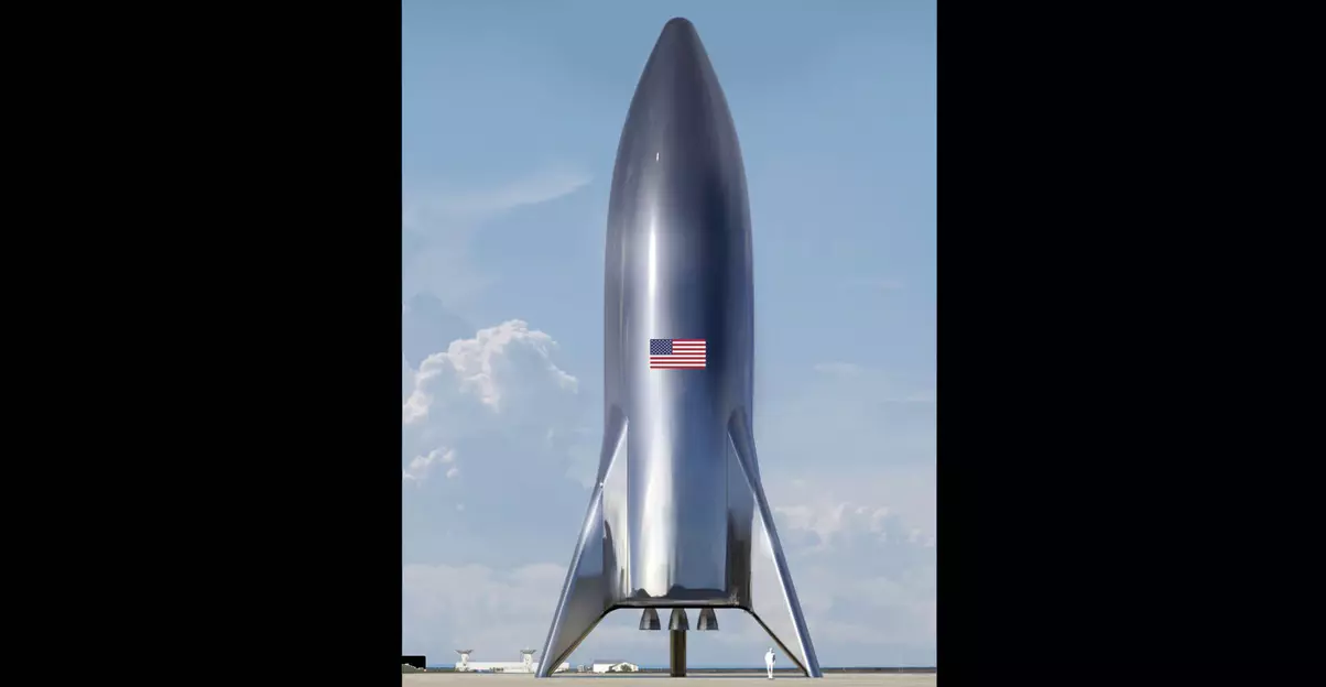 A photo of the assembled SpaceX Starship test vehicle. (Credit: Elon Musk (Twitter)