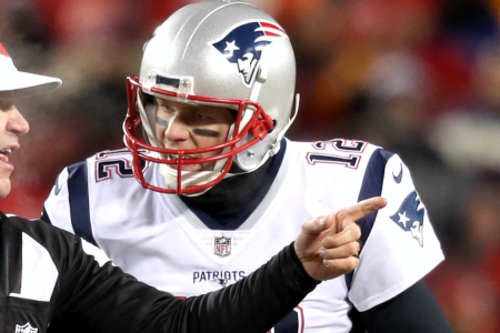 KANSAS CITY, MO - JANUARY 20: New England Patriots quarterback Tom Brady (12) argues with referee Clete Blakeman in the second quarter.The Kansas City Chiefs host the New England Patriots in an NFL AFC Championship game at Arrowhead Stadium in Kansas City, MO on Jan. 20, 2019. (Photo by Jim Davis/The Boston Globe via Getty Images)