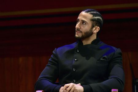 CAMBRIDGE, MA - OCTOBER 11:  Colin Kaepernick on stage at the W.E.B. Du Bois Medal Award Ceremony at Harvard University on October 11, 2018 in Cambridge, Massachusetts.   2018 Honorees included Kehinde Wiley, Florence Ladd, Kenneth Chenault,  Shirley Ann Jackson, Pamela Joyner, Bryan Stevenson, Dave Chappelle and Colin Kaepernick.  (Photo by Paul Marotta/Getty Images)