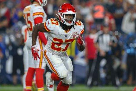 Kansas City Chiefs running back Kareem Hunt (27) running in motion during a NFL game between the Kansas City Chiefs and the Los Angeles Rams on November 19, 2018 at the Los Angeles Memorial Coliseum in Los Angeles, CA. (Photo by Jordon Kelly/Icon Sportswire via Getty Images)