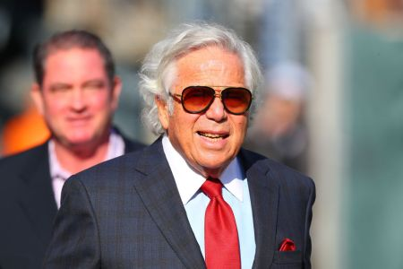 EAST RUTHERFORD, NJ - NOVEMBER 25:  New England Patriots Owner Robert Kraft prior to the National Football League game between the New England Patriots and the New York Jets on November 25, 2018 at MetLife Stadium in East Rutherford, NJ.   (Photo by Rich Graessle/Icon Sportswire via Getty Images)
