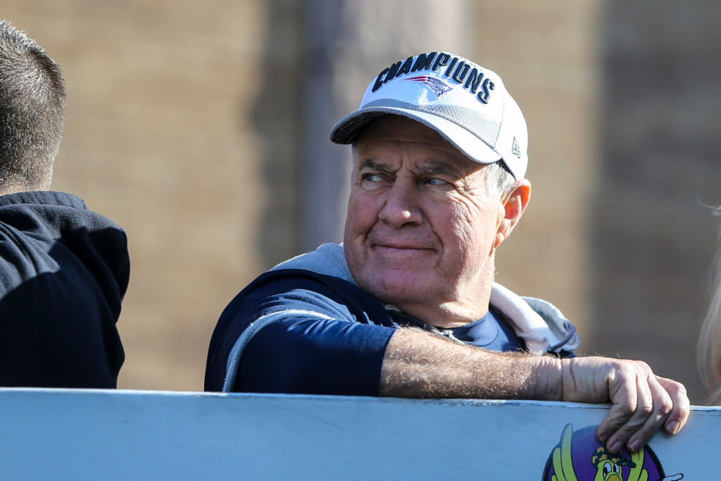 BOSTON, MA - FEBRUARY 5: New England Patriots head coach Bill Belichick rides on a duck boat during the New England Patriots Super Bowl LIII victory parade in Boston on Feb. 5, 2019. (Photo by Nathan Klima for The Boston Globe via Getty Images)