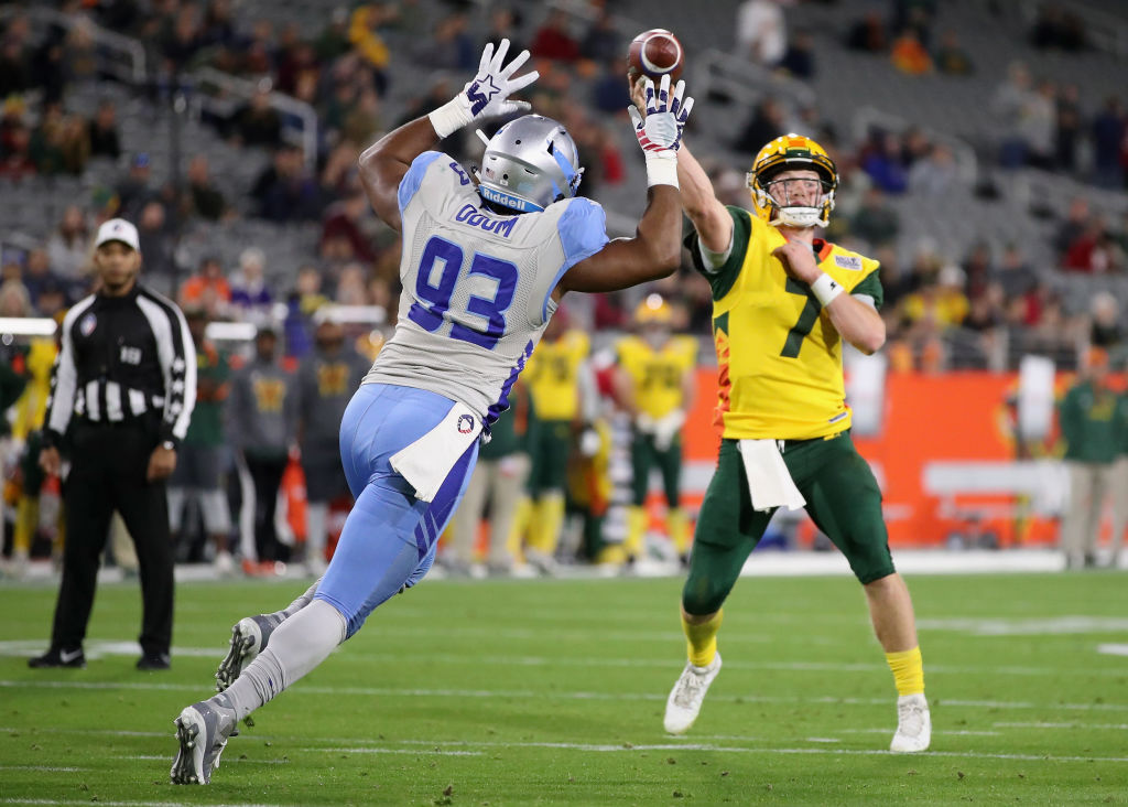 Quarterback JohnWolford #7 of the Arizona Hotshots throws a pass during the second half of the Alliance of American Football game against the Salt Lake Stallions at Sun Devil Stadium on February 10, 2019 in Tempe, Arizona.  (Photo by Christian Petersen/AAF/Getty Images)