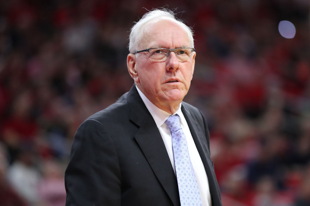 RALEIGH, NC - FEBRUARY 13:Syracuse Orange head coach Jim Boeheim  during the 1st half of the NC State Wolfpack game versus the Syracuse Orange on February 13th, 2019, at PNC Arena in Raleigh, NC. (Photo by Jaylynn Nash/Icon Sportswire via Getty Images)