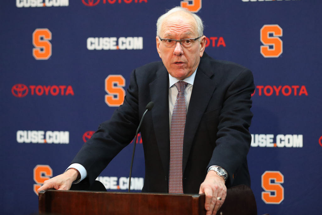 Head coach Jim Boeheim of the Syracuse Orange speaks with the media following the game against the Duke Blue Devils at the Carrier Dome on February 23, 2019 in Syracuse, New York. Duke defeated Syracuse 75-65. (Photo by Rich Barnes/Getty Images)