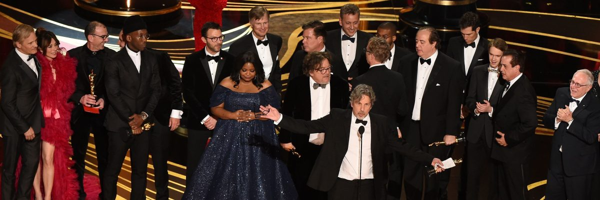 """Producers of Best Picture nominee """"Green Book"""" Peter Farrelly and Nick Vallelonga accepts the award for Best Picture with the whole crew on stage during the 91st Annual Academy Awards at the Dolby Theatre in Hollywood, California on February 24, 2019. (VALERIE MACON/AFP/Getty Images)"""