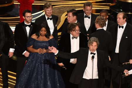 "Producers of Best Picture nominee ""Green Book"" Peter Farrelly and Nick Vallelonga accepts the award for Best Picture with the whole crew on stage during the 91st Annual Academy Awards at the Dolby Theatre in Hollywood, California on February 24, 2019. (VALERIE MACON/AFP/Getty Images)"